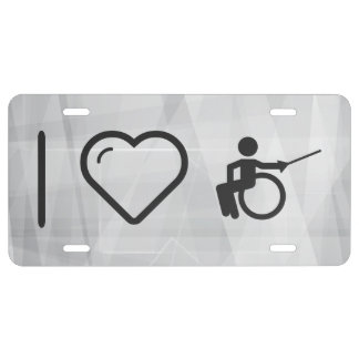 I Love Paralympic Fencing  Swords License Plate