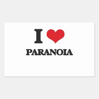 I Love Paranoia Rectangle Stickers