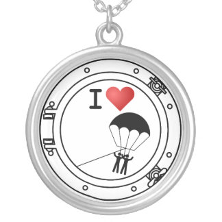 I Love Parasailing Round Pendant Necklace