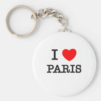 I Love Paris Basic Round Button Keychain