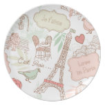 i love paris dinner plate
