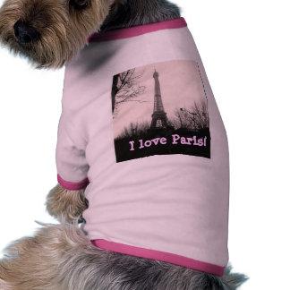 """""""I Love Paris"""" dog t-shirt"""