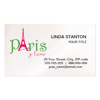 I love Paris Double-Sided Standard Business Cards (Pack Of 100)