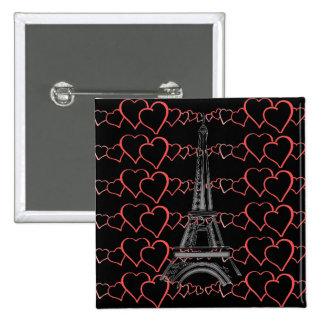 I Love Paris, Eiffel Tower Pin Button