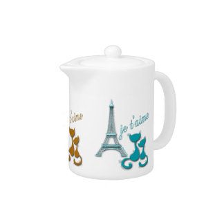 I Love Paris Elegant Eiffel Tower And Cats Design Teapot