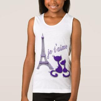 I Love Paris Elegant Purple Eiffel Tower And Cats Tank Top