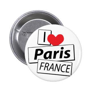 I Love Paris France Pinback Button