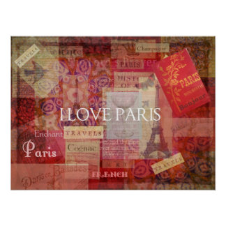 I Love PARIS - French France theme decor Poster