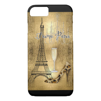 I Love Paris Gold Leaf Eiffel Tower Fashion Shoes iPhone 8/7 Case