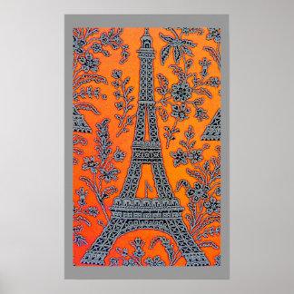 I Love Paris Grey Border Poster small