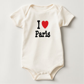 I love Paris heart custom personalized Baby Bodysuit