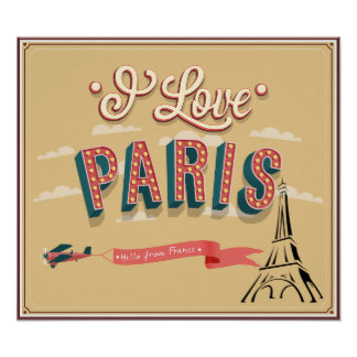 I Love Paris, hello from France retro style poster