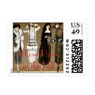 I Love Paris in the Fall Fashion Illustration Postage