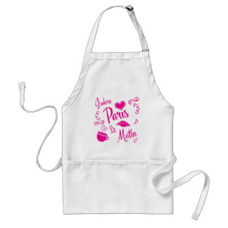 I Love Paris in the Morning Coffee Croissant Adult Apron