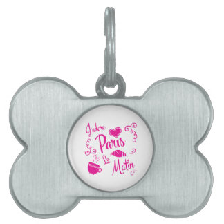 I Love Paris in the Morning Coffee Croissant Pet Name Tag