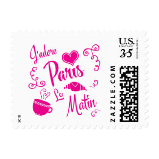 I Love Paris in the Morning Coffee Croissant Postage