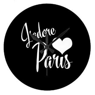 I Love Paris - J'adore Paris Vintage Style Large Clock