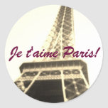 I Love Paris! Je t'aime Paris! Round Stickers
