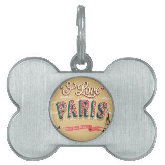 I Love Paris Pet ID Tag