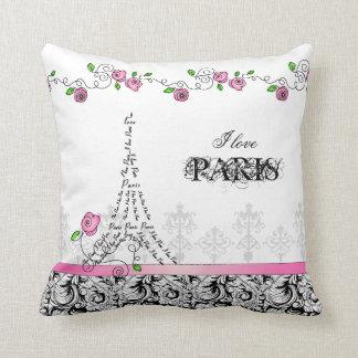 I Love Paris Pillow White Pink Black Roses