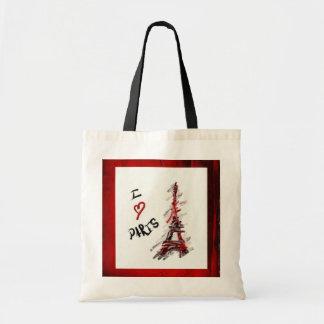 I Love Paris (Red & Black Frame) Budget Tote Bag