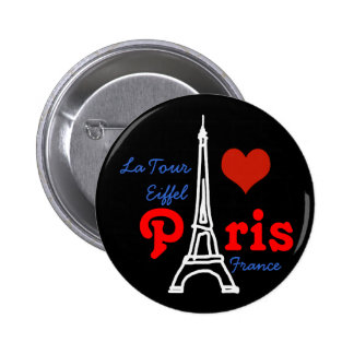 I love Paris . romantic red heart Button