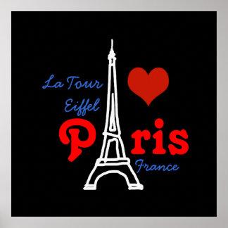 I love Paris . romantic red heart Poster