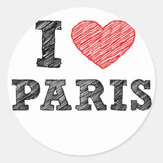 I Love Paris Sketch Classic Round Sticker
