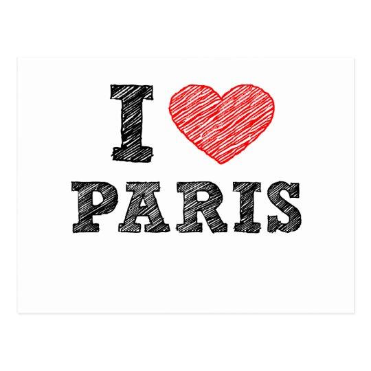 I Love Paris Sketch Postcard