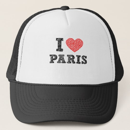 I Love Paris Sketch Trucker Hat