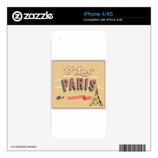 I Love Paris Skins For iPhone 4S