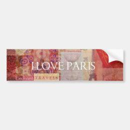 I Love Paris VINTAGE ART Bumper Sticker