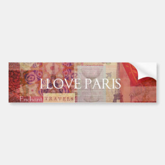 I Love Paris VINTAGE ART Bumper Sticker