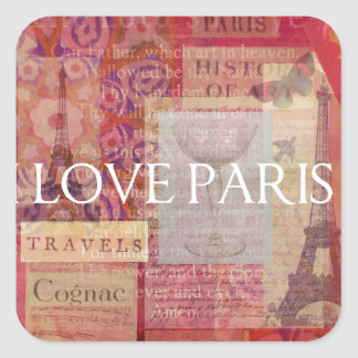 I Love Paris VINTAGE ART Square Sticker
