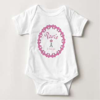 I love Paris with hearts Baby Bodysuit