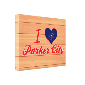 I Love Parker City, Indiana Gallery Wrap Canvas