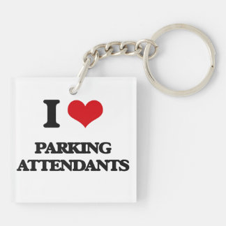I Love Parking Attendants Double-Sided Square Acrylic Keychain