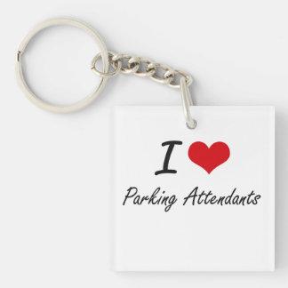 I Love Parking Attendants Single-Sided Square Acrylic Keychain