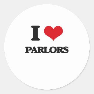 I Love Parlors Round Sticker