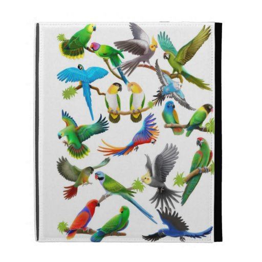 I Love Parrots iPad Caseable Case iPad Folio Case