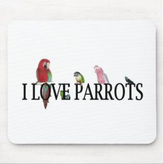 I Love Parrots Mouse Pad