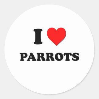 I Love Parrots Classic Round Sticker