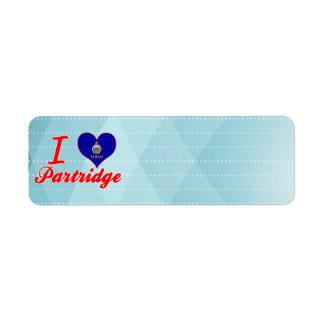 I Love Partridge, Kansas Custom Return Address Label