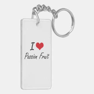 I Love Passion Fruit artistic design Double-Sided Rectangular Acrylic Keychain