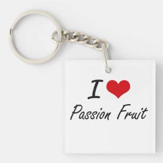 I Love Passion Fruit artistic design Single-Sided Square Acrylic Keychain