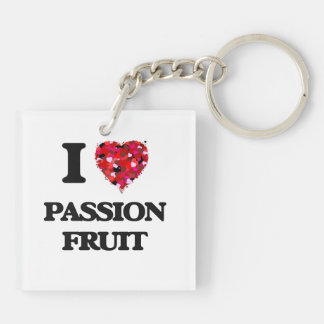 I Love Passion Fruit food design Double-Sided Square Acrylic Keychain