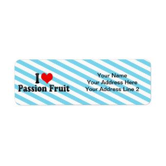 I Love Passion Fruit Custom Return Address Label
