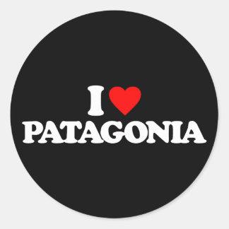 I LOVE PATAGONIA ROUND STICKERS
