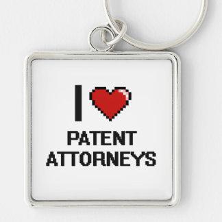 I love Patent Attorneys Silver-Colored Square Keychain