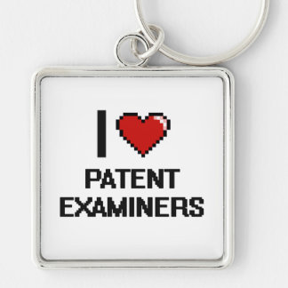 I love Patent Examiners Silver-Colored Square Keychain